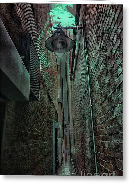 Night Lamp Greeting Cards - Narrow Street Greeting Card by Jasna Buncic