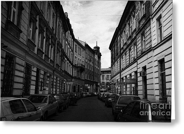 Polish City Greeting Cards - Narrow Street With On Street Both Sides Parking In Krakow Greeting Card by Joe Fox