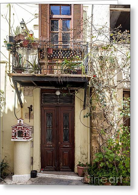 Narrow Streets In Chania Greece Greeting Card by Frank Bach