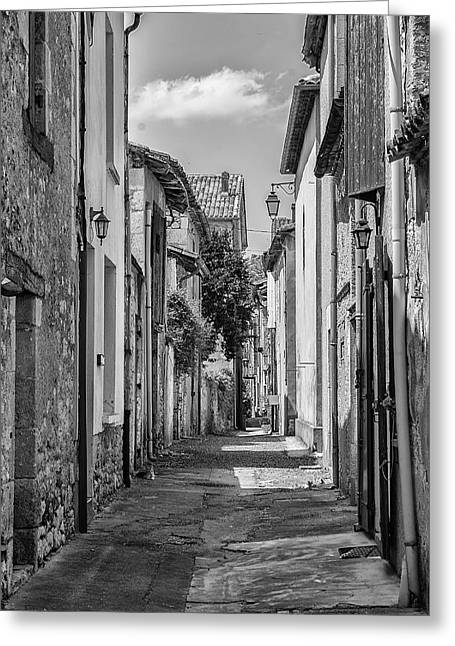 Medieval Entrance Greeting Cards - Narrow Streets of Eymet Greeting Card by Nomad Art And  Design