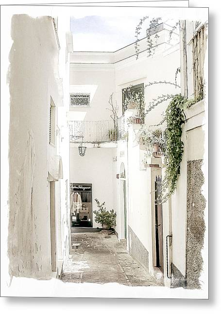 Italian Pottery Greeting Cards - Narrow Walkway of Capri Greeting Card by Julie Palencia