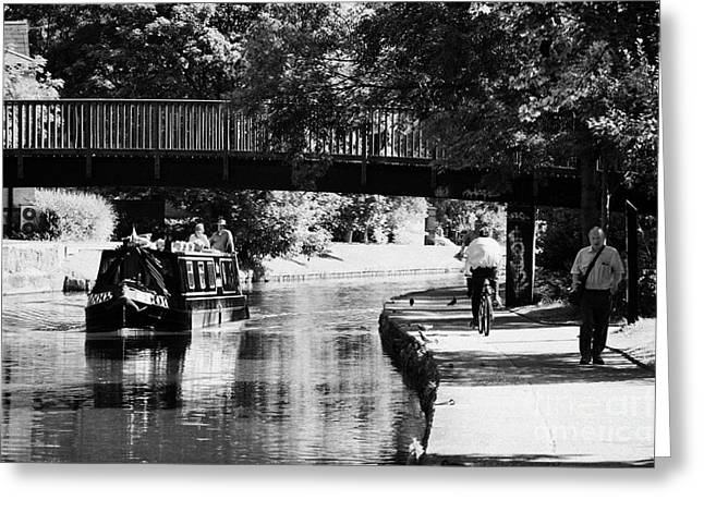 Nottingham Greeting Cards - Narrowboat On Nottingham Canal Beside Towpath With Pedestrians And Footbridge Nottingham England  Greeting Card by Joe Fox