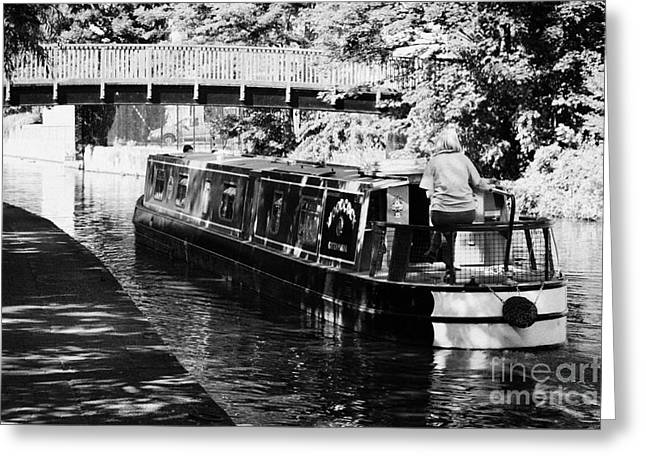 Nottingham Greeting Cards - Narrowboat On Nottingham Canal With Tow Path And Footbridge From Rear Nottingham England Greeting Card by Joe Fox