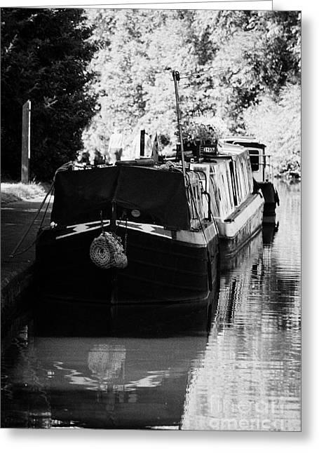 Nottingham Greeting Cards - Narrowboats Moored On Nottingham Canal Nottingham England Greeting Card by Joe Fox