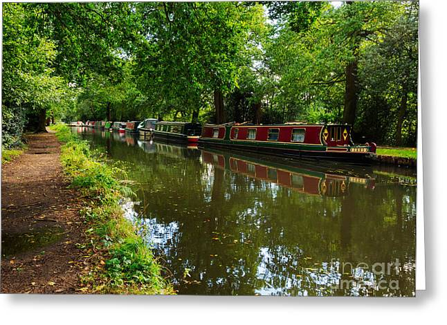 Boats On Water Greeting Cards - Narrowboats moored on the Wey Navigation in Surrey Greeting Card by Louise Heusinkveld