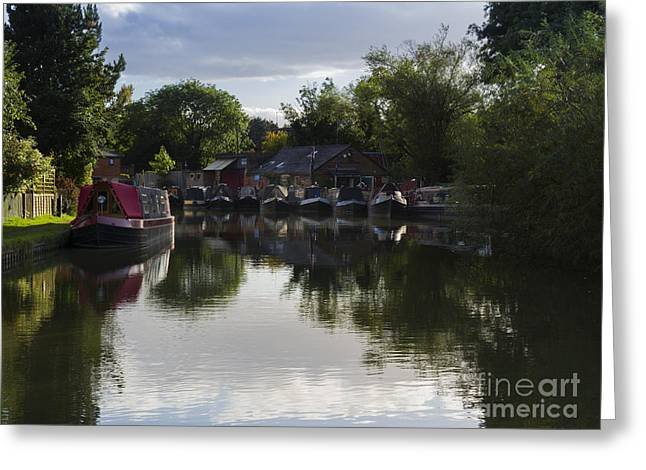 Northamptonshire Greeting Cards - Narrowboats on the Grand Union Canal Greeting Card by Louise Heusinkveld