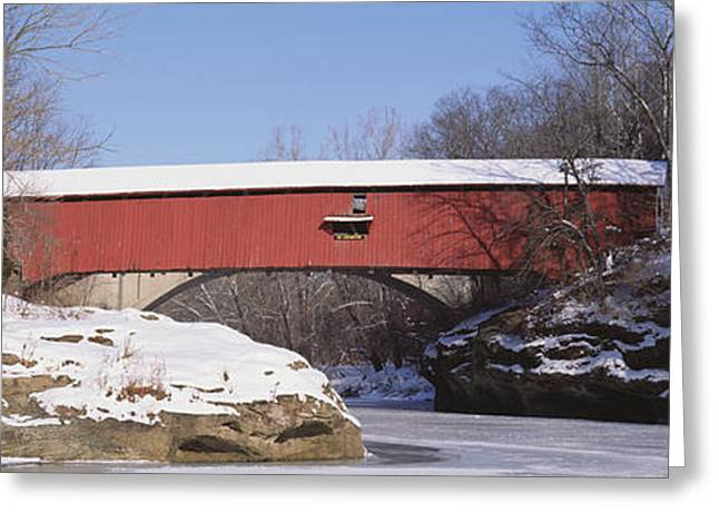 Enclosed Greeting Cards - Narrows Covered Bridge Turkey Run State Greeting Card by Panoramic Images