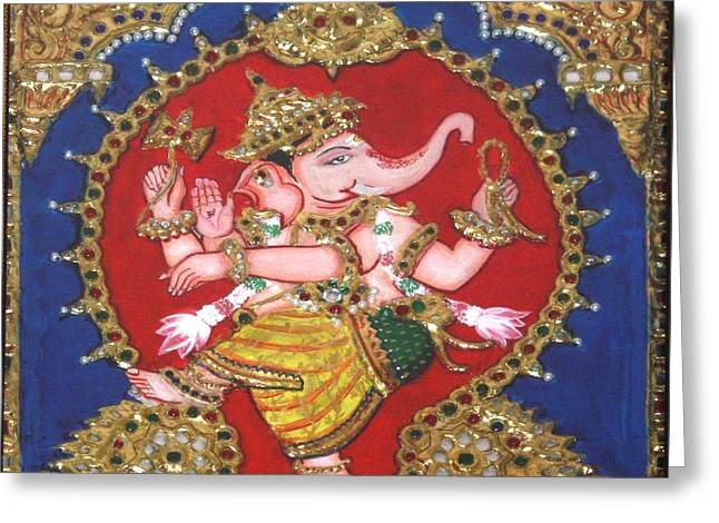 Kami A Greeting Cards - Narthana Ganapathi Greeting Card by Jayashree