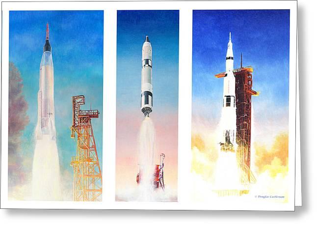 1960 Greeting Cards - NASA Rockets Greeting Card by Douglas Castleman
