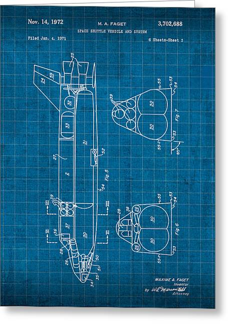 Space Shuttle Mixed Media Greeting Cards - Nasa Space Shuttle Vintage Patent Diagram Blueprint Greeting Card by Design Turnpike