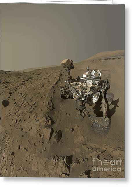 Nasas Curiosity Mars Rover On Planet Greeting Card by Stocktrek Images