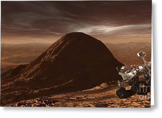 Incline Digital Greeting Cards - Nasas Curiosity Rover Climbing Greeting Card by Steven Hobbs