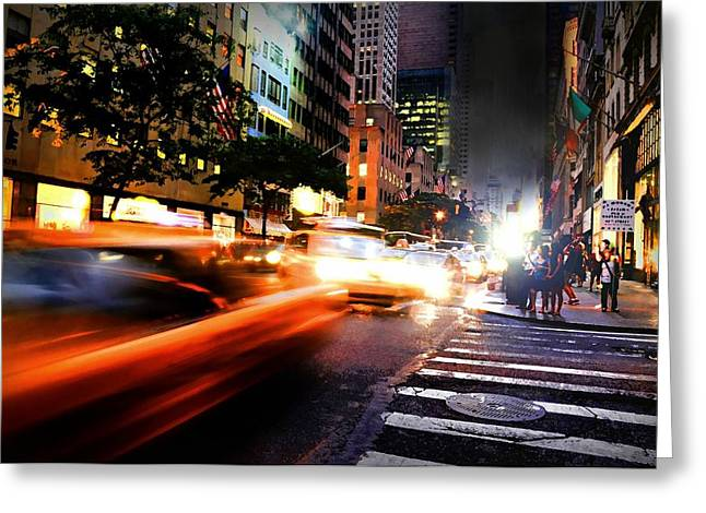 Long Street Greeting Cards - NASCAR in NYC Greeting Card by Diana Angstadt