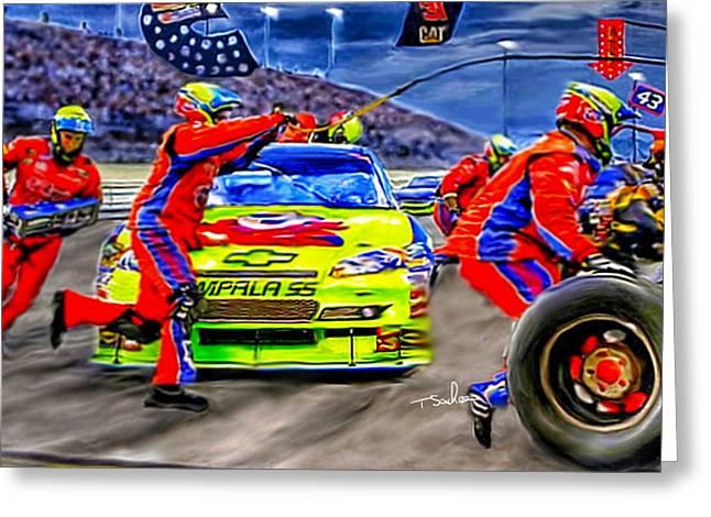 Nascar Digital Art Greeting Cards - NASCAR Pitstop Greeting Card by Tom Sachse