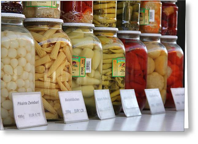 Canning Jars Greeting Cards - Naschmarkt No.4 Greeting Card by Nancy Ingersoll