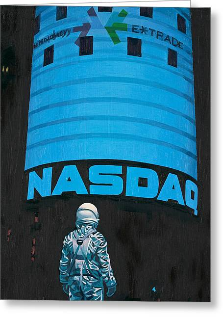 New York Times Greeting Cards - Nasdaq Greeting Card by Scott Listfield