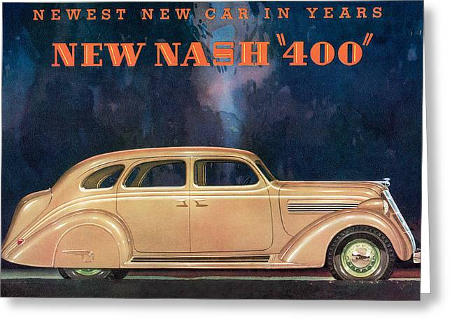 Nash 400 - Vintage Car Poster Greeting Card by World Art Prints And Designs