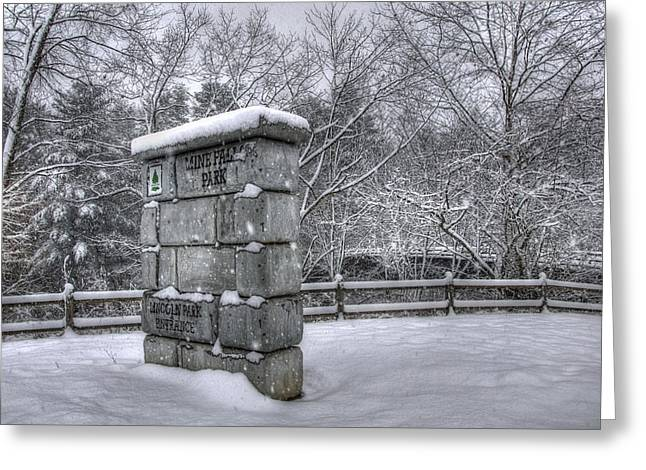 New England Snow Scene Greeting Cards - Nashua NH - Mine Falls Park Greeting Card by Joann Vitali