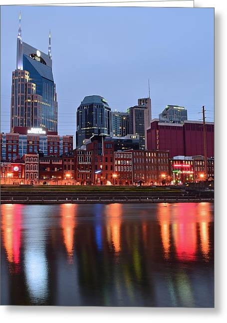 Skyline Of Nashville Greeting Cards - Nashville Across the Cumberland River Greeting Card by Frozen in Time Fine Art Photography