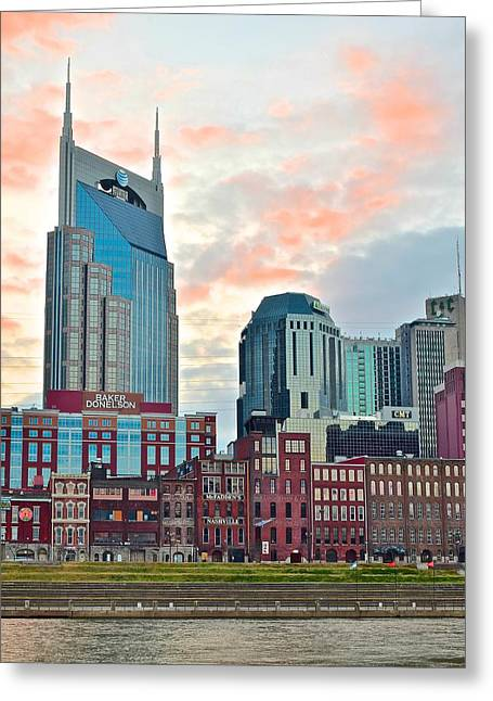 Mcfaddens Greeting Cards - Nashville at Dusk Greeting Card by Frozen in Time Fine Art Photography