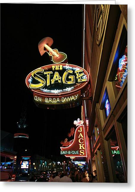 Nashville Tennessee Greeting Cards - Nashville Bars At Night Greeting Card by Dan Sproul