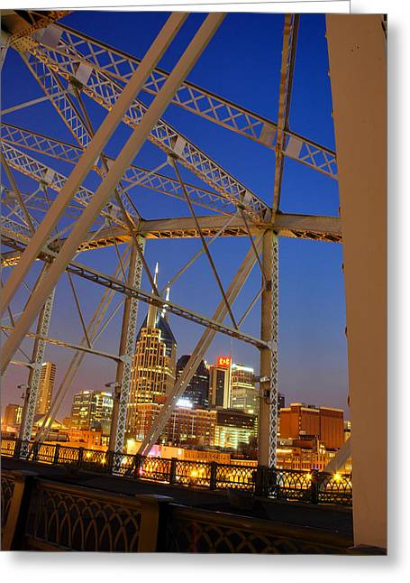 Nashville Bridge Greeting Card by Zachary Cox