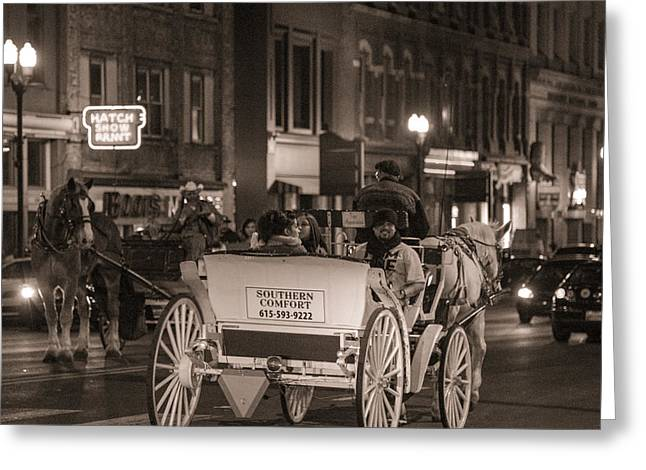 Nashville Carriage Ride Greeting Card by John McGraw