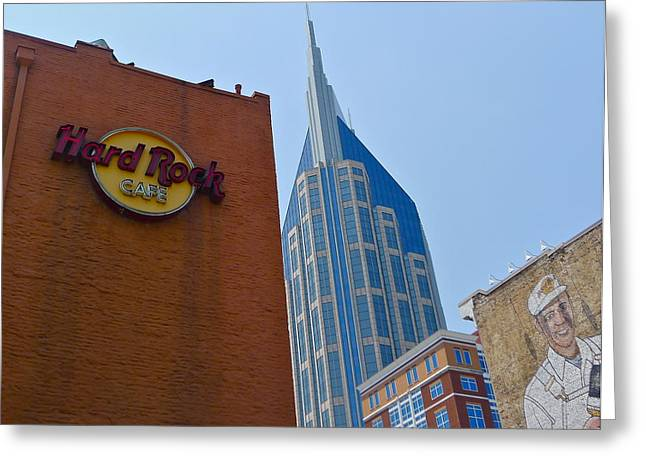 Hard Rock Cafe Building Greeting Cards - Nashville Downtown Greeting Card by Denise Mazzocco