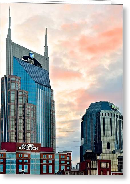 Tenn Greeting Cards - Nashville from Below Greeting Card by Frozen in Time Fine Art Photography