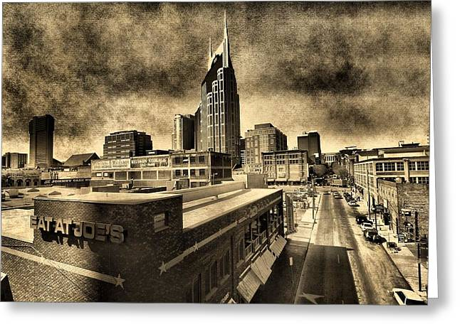 Downtown Nashville Greeting Cards - Nashville Grunge Greeting Card by Dan Sproul
