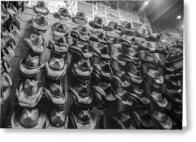 Nashville Greeting Cards - Nashville Hats Black and White Greeting Card by John McGraw