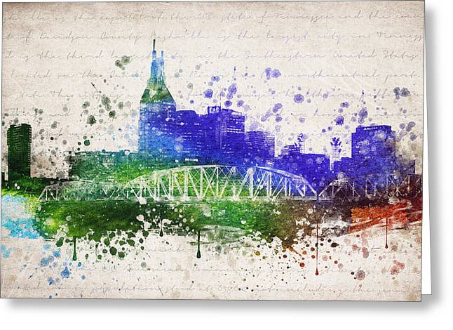 Nashville Downtown Greeting Cards - Nashville in Color Greeting Card by Aged Pixel