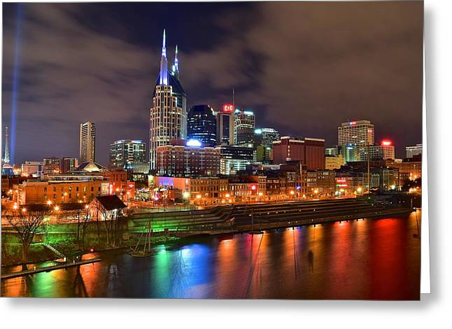 Country Music Town Greeting Cards - Nashville is a Colorful Town Greeting Card by Frozen in Time Fine Art Photography