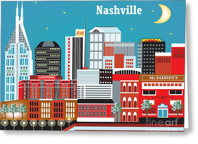 Nashville Tennessee Digital Greeting Cards - Nashville Greeting Card by Karen Young