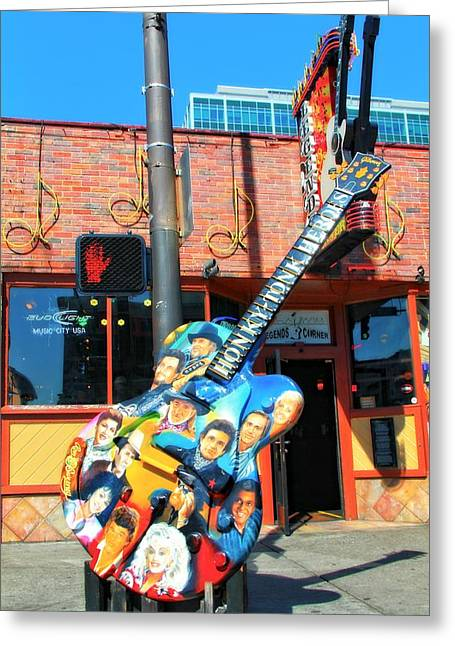 Tennessee Landmark Greeting Cards - Nashville Legends Guitar Greeting Card by Dan Sproul