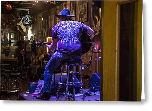 Nashville Greeting Cards - Nashville Musician in Bar Greeting Card by John McGraw