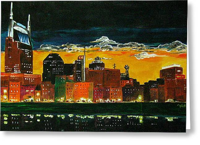 Nashville Night Greeting Card by Vickie Warner
