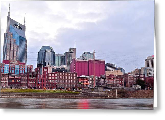 Nashville Greeting Cards - Nashville over the Cumberland River Greeting Card by Frozen in Time Fine Art Photography