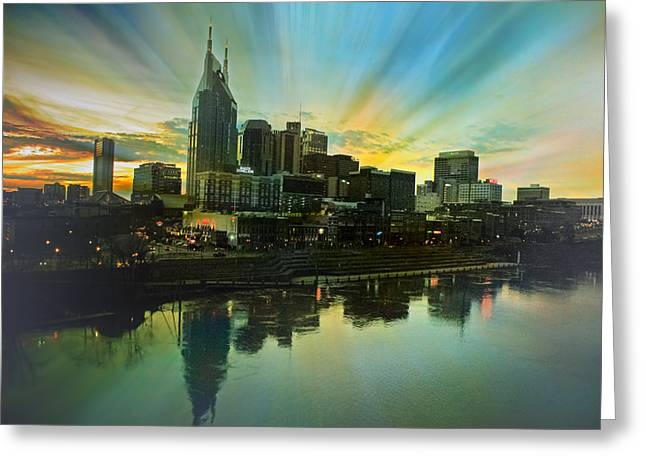 Steven Michael Photography And Art Greeting Cards - Nashville Over The Cumberland Greeting Card by Steven  Michael