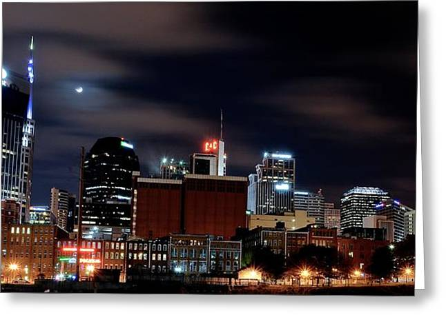 Gotham City Photographs Greeting Cards - Nashville Panorama Greeting Card by Frozen in Time Fine Art Photography