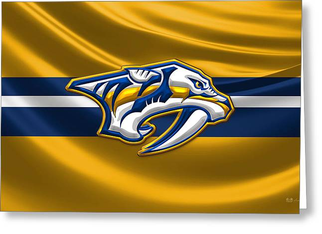 Hockey Memorabilia Greeting Cards - Nashville Predators - 3D Badge over Silk Flag Greeting Card by Serge Averbukh