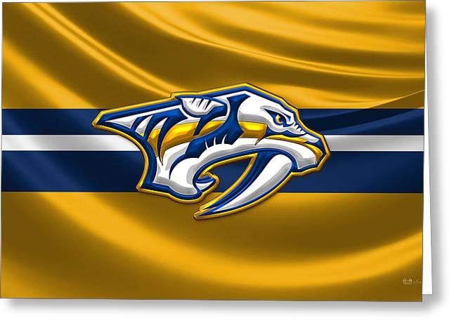 Hockey Art Greeting Cards - Nashville Predators - 3D Badge over Silk Flag Greeting Card by Serge Averbukh