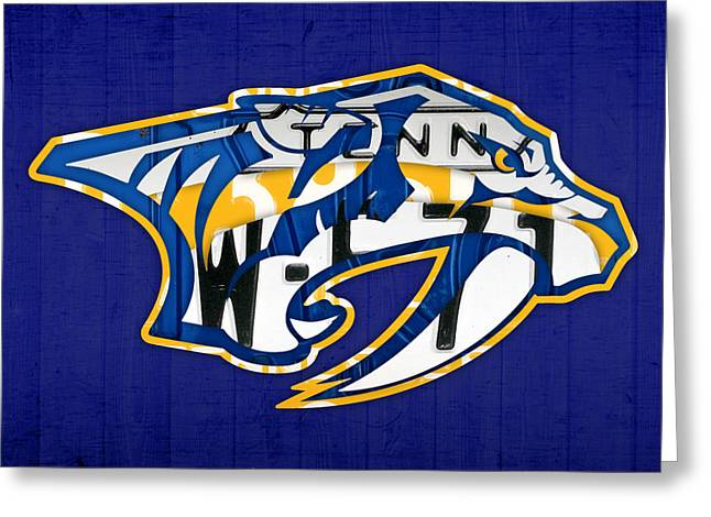Nashville Greeting Cards - Nashville Predators Hockey Team Retro Logo Vintage Recycled Tennessee License Plate Art Greeting Card by Design Turnpike