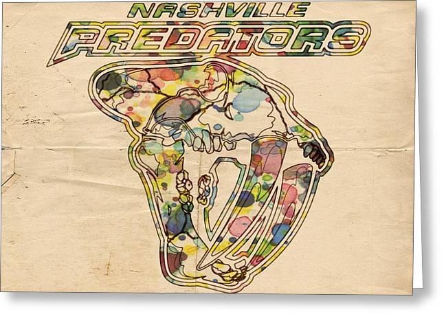 Nashville Poster Greeting Cards - Nashville Predators Retro Poster Greeting Card by Florian Rodarte