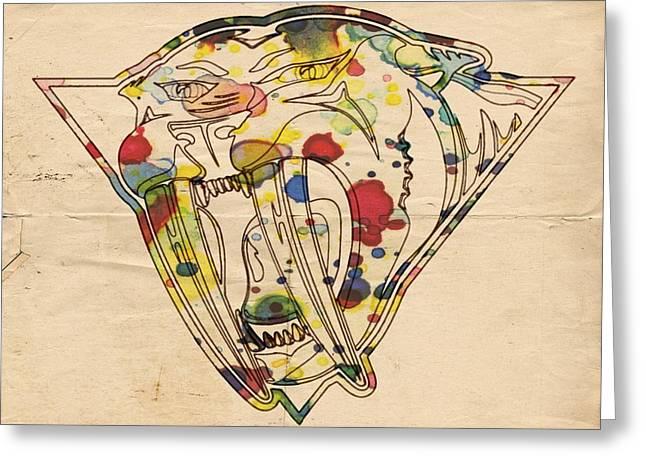 Nashville Poster Greeting Cards - Nashville Predators Vintage Poster Greeting Card by Florian Rodarte