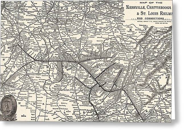 Nashville Greeting Cards - Nashville Railway Map Vintage Greeting Card by Dan Sproul