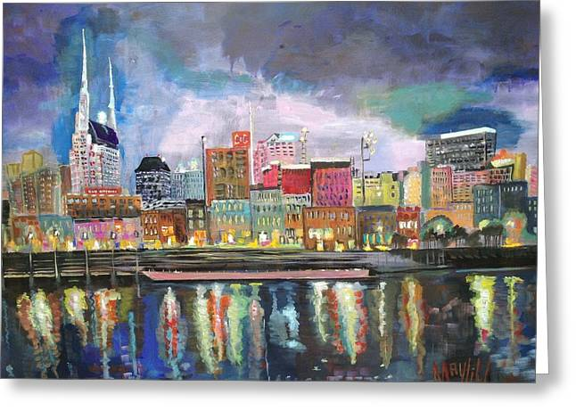 Tennessee River Paintings Greeting Cards - Nashville reflections  Greeting Card by MayLill Tomlin