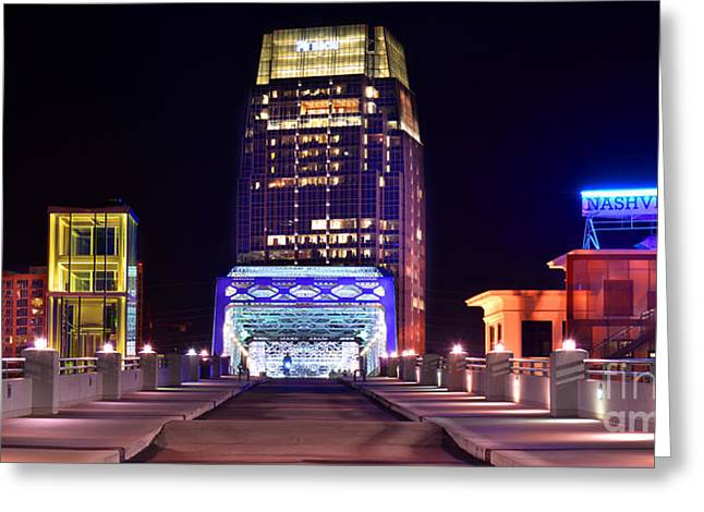 Nashville Sight Night Skyline Pinnacle Panorama Color Greeting Card by Jon Holiday