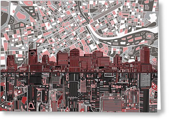 Nashville Greeting Cards - Nashville Skyline Abstract 3 Greeting Card by MB Art factory
