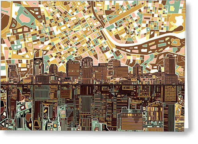 Nashville Tennessee Greeting Cards - Nashville Skyline Abstract 4 Greeting Card by MB Art factory